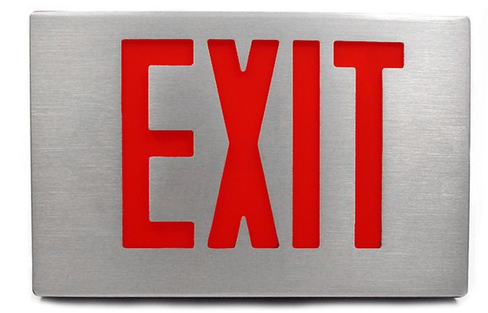 Exit Sign Cast Aluminum Red Led Battery Backup Exit Sign Emergency Exit Signs Emergency Lighting