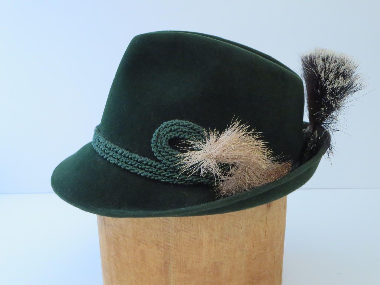 835fa8799 FEDORA HAT, Austrian, Bavarian, Tyrolean, Green felt Hat, Biltmore ...
