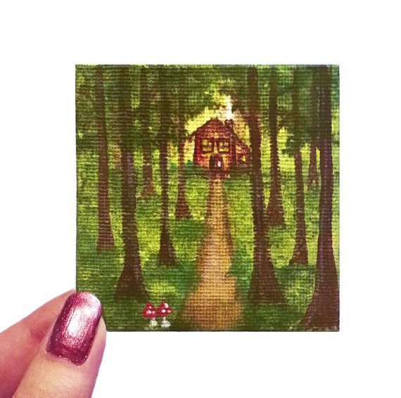 Acrylic Painting Mini Canvas Forest Woods Cottage Cabin