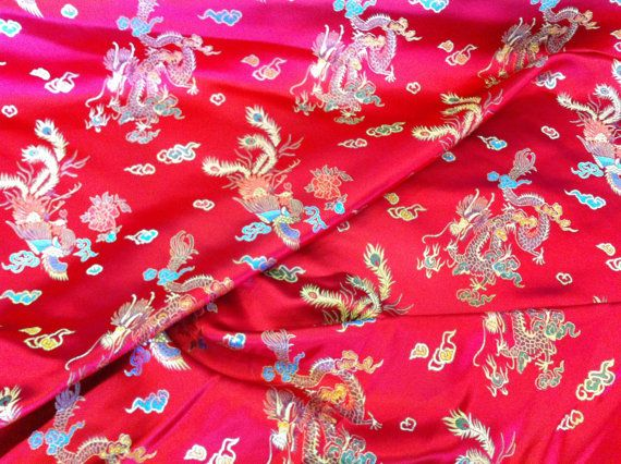 Chinese Oriental Silk Brocade Dragon Chinese by TheFabricShopUK, £8.99