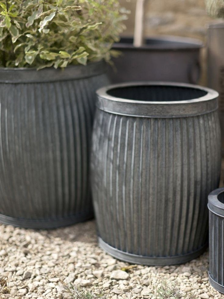 10 Easy Pieces Zinc Barrel Planters Gardenista Zinc Planters Large Planters Barrel Planter