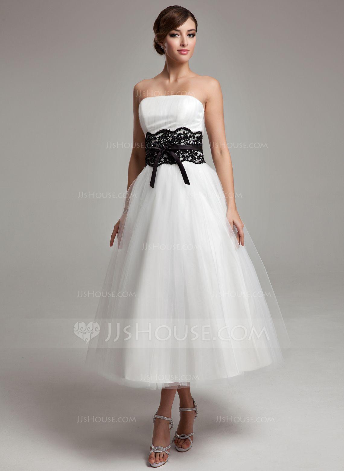 A lineprincess strapless tea length tulle wedding dress with lace a lineprincess strapless tea length tulle wedding dress with lace sash beading bows 002011609 ombrellifo Choice Image