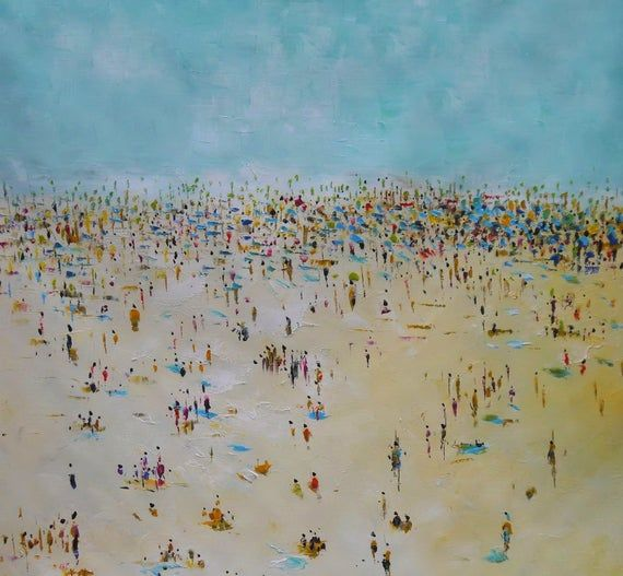 Large Original Oil Painting On Canvas Abstract Beach Painting