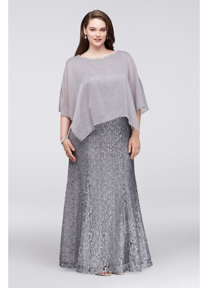 d79a08b01f7 Glitter Lace Plus Size Gown with Chiffon Capelet Style 3800DW ...