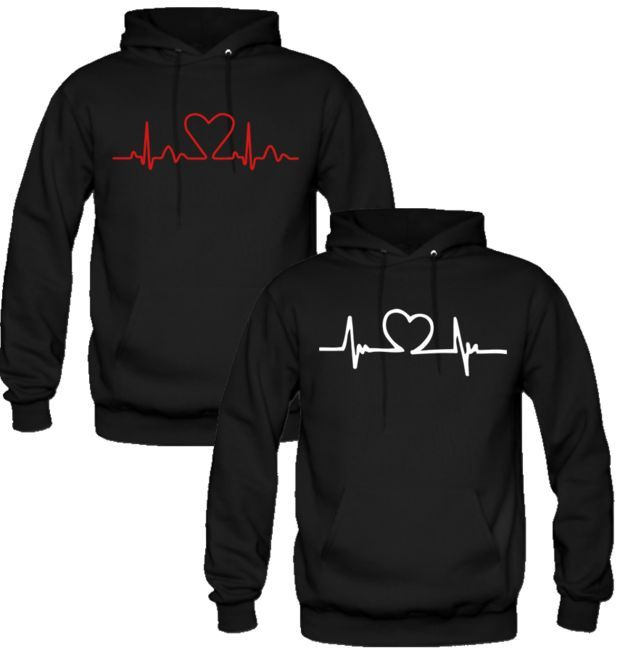 fe0912460df HEART BEAT DESIGN LOVE COUPLE HOODIES