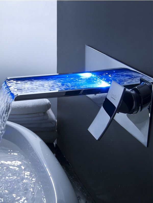 219 Lightinthebox Sprinkle Futuristic Color Changing Led Waterfall Bathroom Sink Faucet Futuris Bathroom Faucets Waterfall Faucet Design Bathroom Gadgets