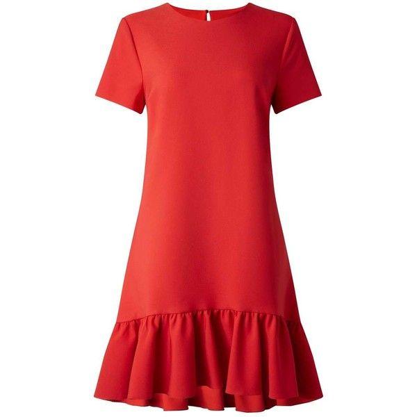a2890d2248 Miss Selfridge Red Peplum Hem T-Shirt Dress (91 AUD) ❤ liked on ...