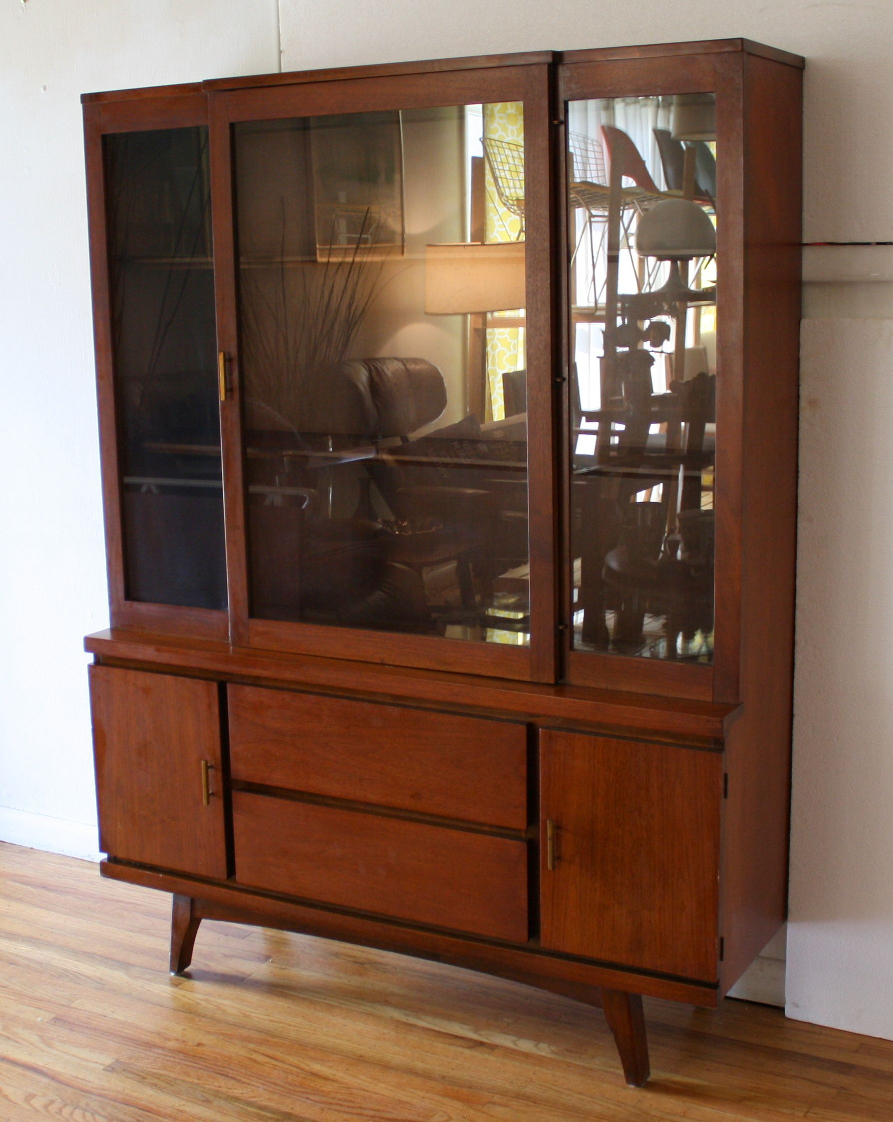 Mid century modern china cabinet hutch with splayed legs for Modern living room hutch