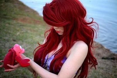 Red Kids Wig Little Mermaid Fantasy Film Arielle Kids Wig Red Longhair Wig for Girls Childrens Ariel Costume Wig