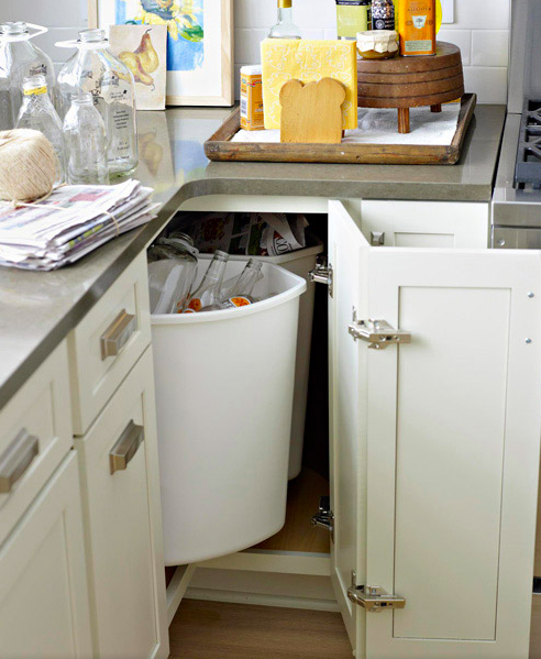 Make The Most Of Corner Cupboards By Installing A Lazy Susan On The Bottom  Of The Cabinet And Placing Recycling Bins On Top Of It.