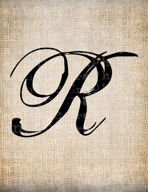 Letter R Fonts : letter, fonts, Antique, Letter, Script, Monogram, Digital, AntiqueGraphique,, 10.00, Tattoo, Fonts, Cursive,, Fonts,, Lettering