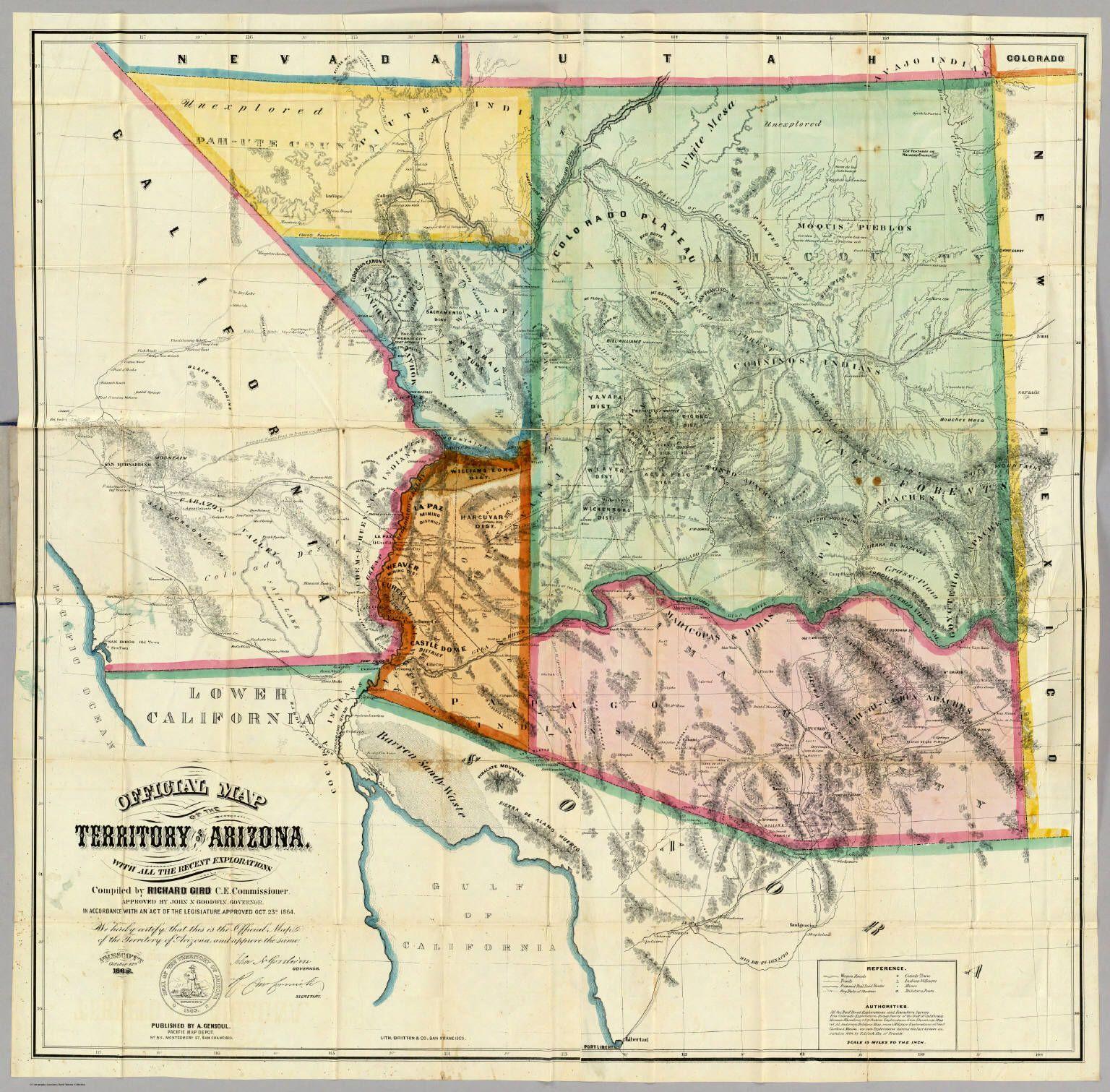 Map Of Arizona Historical Sites.1865 Az Territorial Map Stage Roads To La Paz Az Arizona