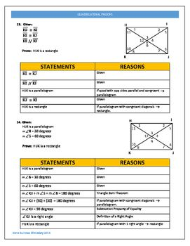 Introductory Quadrilateral Proofs With Complete Key Quadrilaterals Geometry Proofs Geometry Worksheets