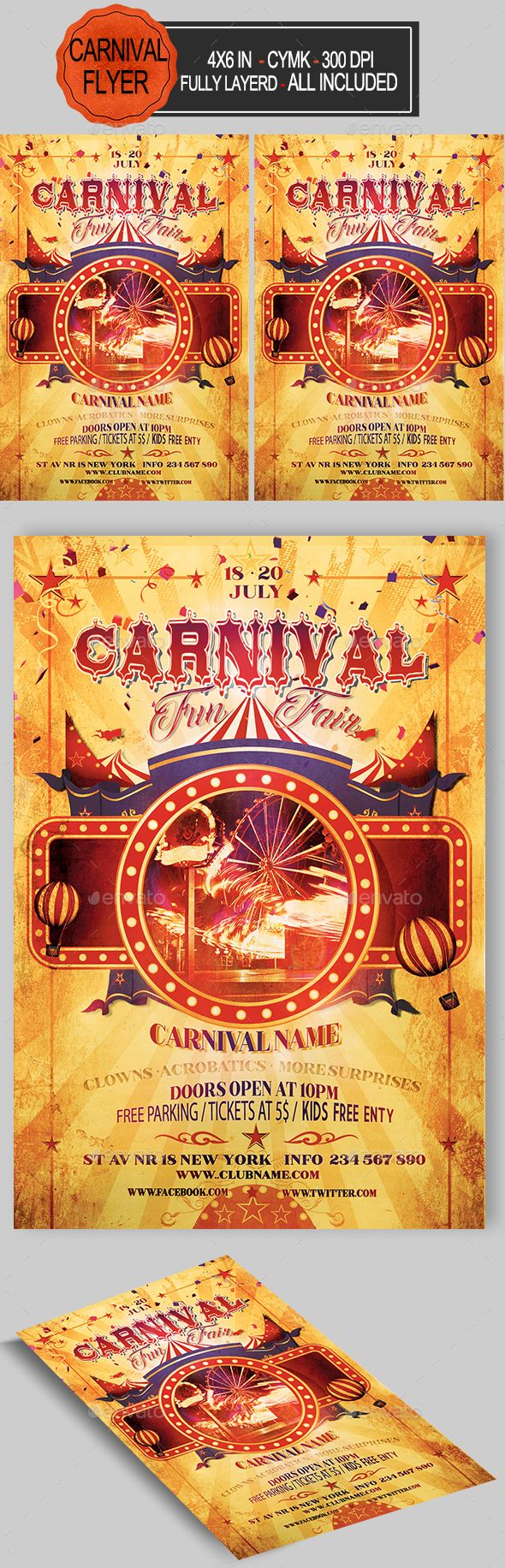 Funfair Carnival Flyer Pinterest Flyer Template Carnival And