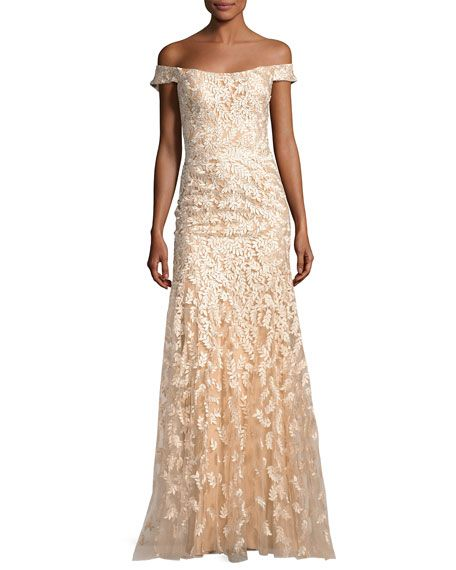 953a9abedc51 Off-the-Shoulder Tulle Leaf Gown, Gold by Jovani at Neiman Marcus ...