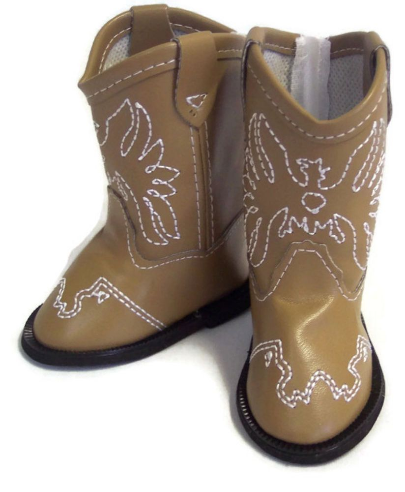Brown w//Eagle Accent Cowboy Boot Shoes for 18 inch American Girl Doll Clothes