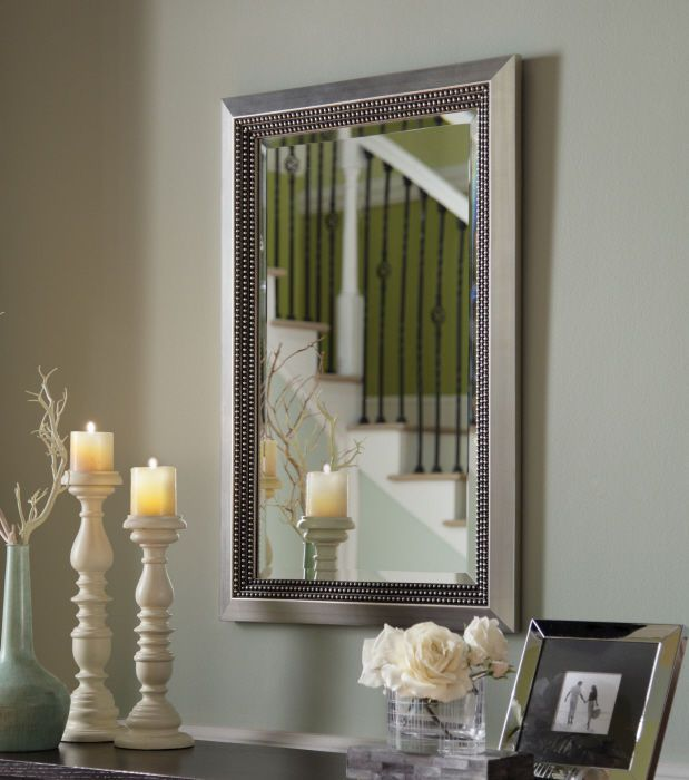 Beveled Wall Mirror triple beaded golden silver leaf beveled wall mirror wood frame
