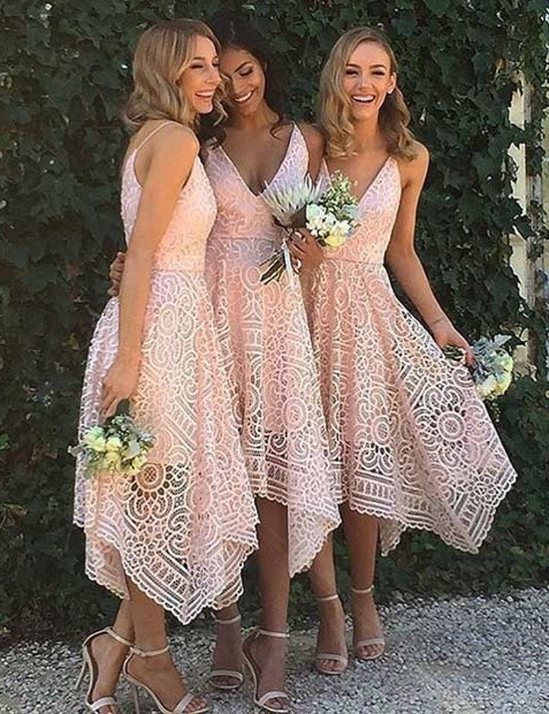 Nude and blush gowns shop now programming girls and wedding a line v neck asymmetrical pink lace bridesmaid homecoming dress ombrellifo Image collections