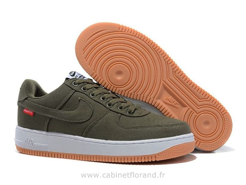 Nike Air Force 1 Basse Toile Army Vert Chaussure pour Homme