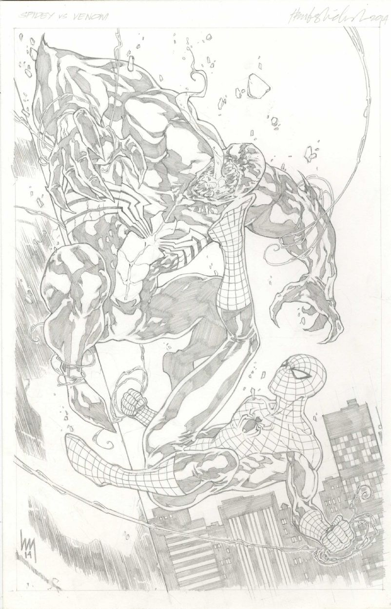 Spiderman and Venom by Heubert Khan Michael  Comic Art