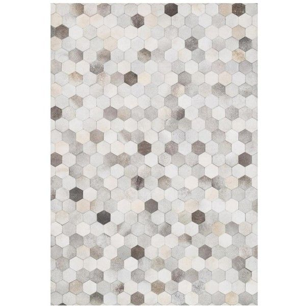 Ritu Rustic Modern Hexagon Grey Ivory Cowhide Rug 3'6x5'6 ($610) ❤ liked on Polyvore featuring home, rugs, grey rug, gray cowhide rug, cow hide rug, cowhide area rug and cream rug