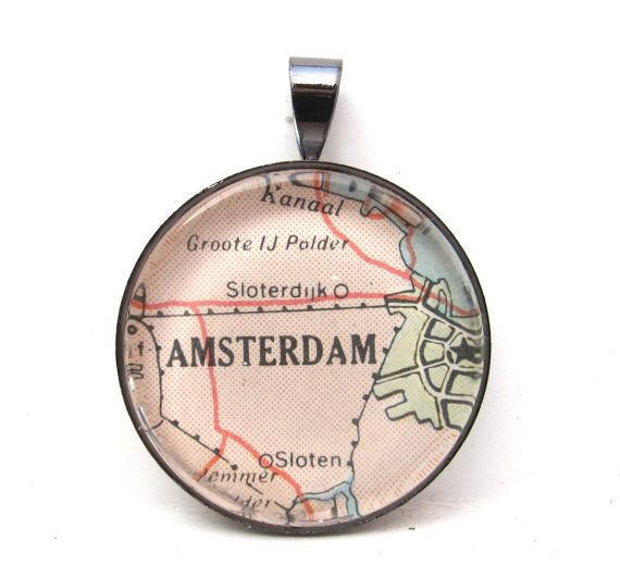 Vintage Map Pendant of Amsterdam Netherlands by CarpeDiemHandmade, $10.00