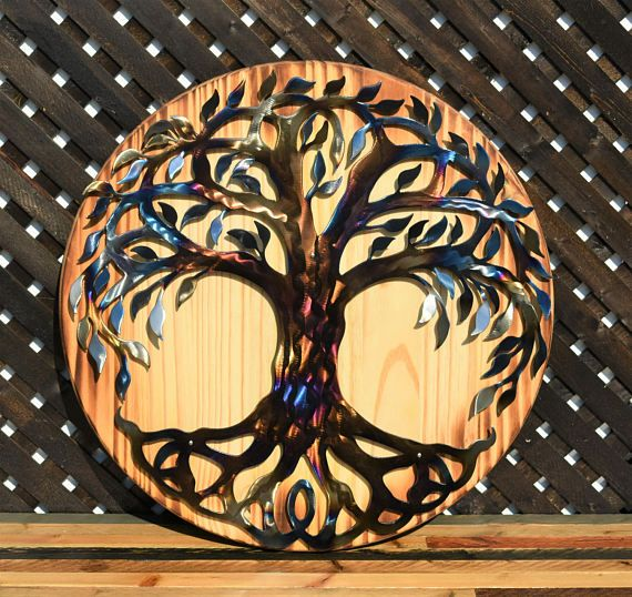 Tree of Life - Hand Oiled Pine, Metal Wall Decor, Metal Wall Art ...