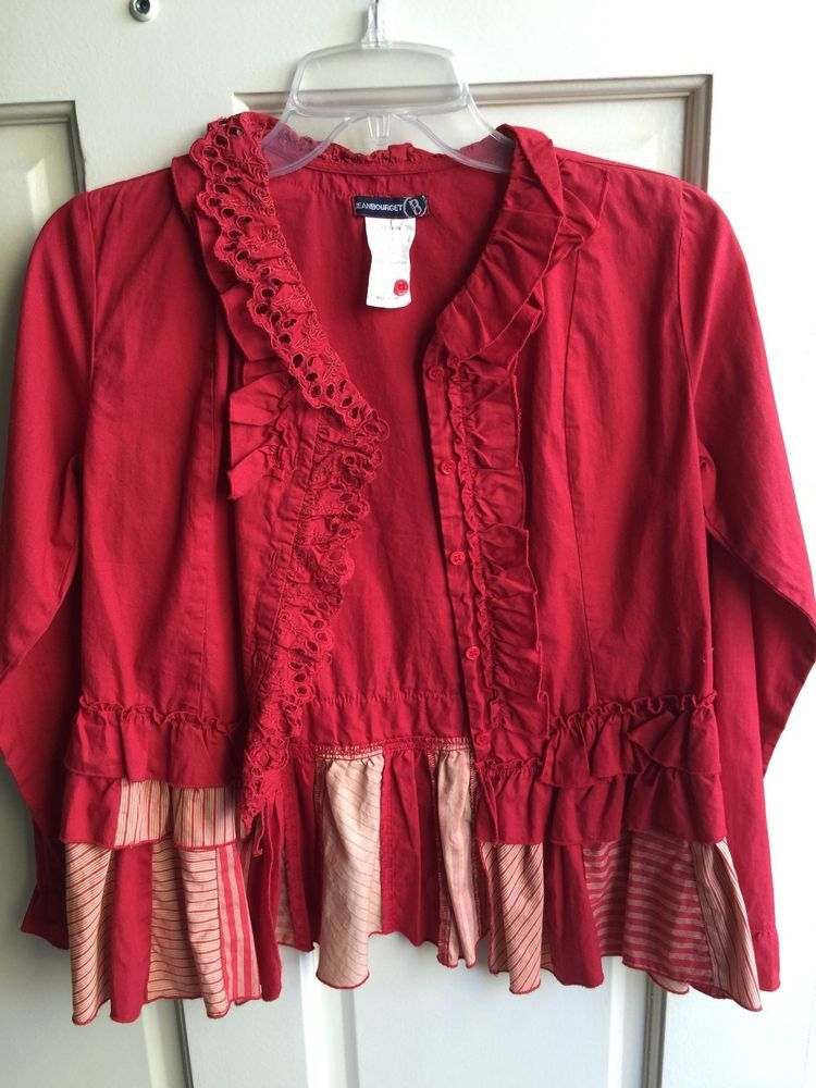 One of a kind JEAN BOURGET Shirt Blouse Botton Down Girls 12-16 Red #JEANBOURGET #DressyEverydayHoliday