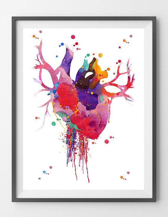Heart Anatomy Watercolor Print Abstract Medical Art The Human Heart