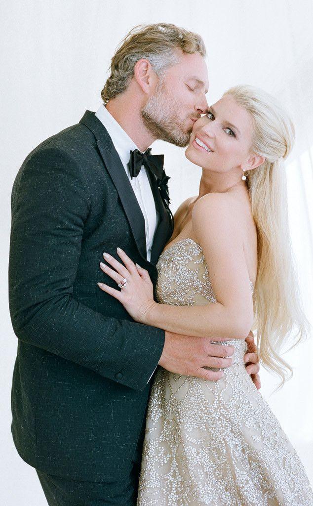 Photos From Best Celebrity Wedding Photos E Online Jessica Simpson Wedding Dress Celebrity Wedding Photos Celebrity Bride