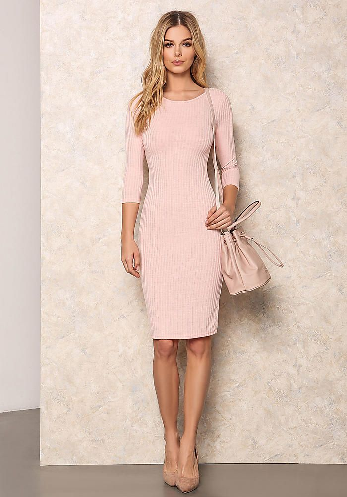 cd81c3dfeefb Pink Ribbed Bodycon Midi Dress - Bodycon - Dresses. Shani Aisha <3 loves