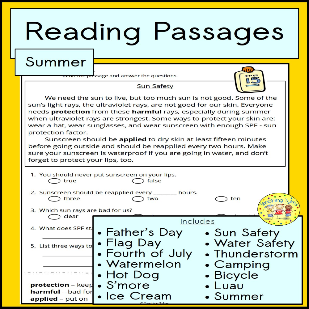 Summer Reading Passages From Teaching Tykes Reading Passages High Interest Reading Passages Teaching Tykes [ 1000 x 1000 Pixel ]
