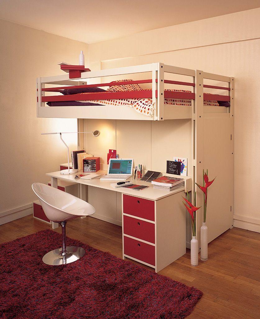Lit Mezzanine Attic Bureau Et Dressing Integre Mezzanine Bed