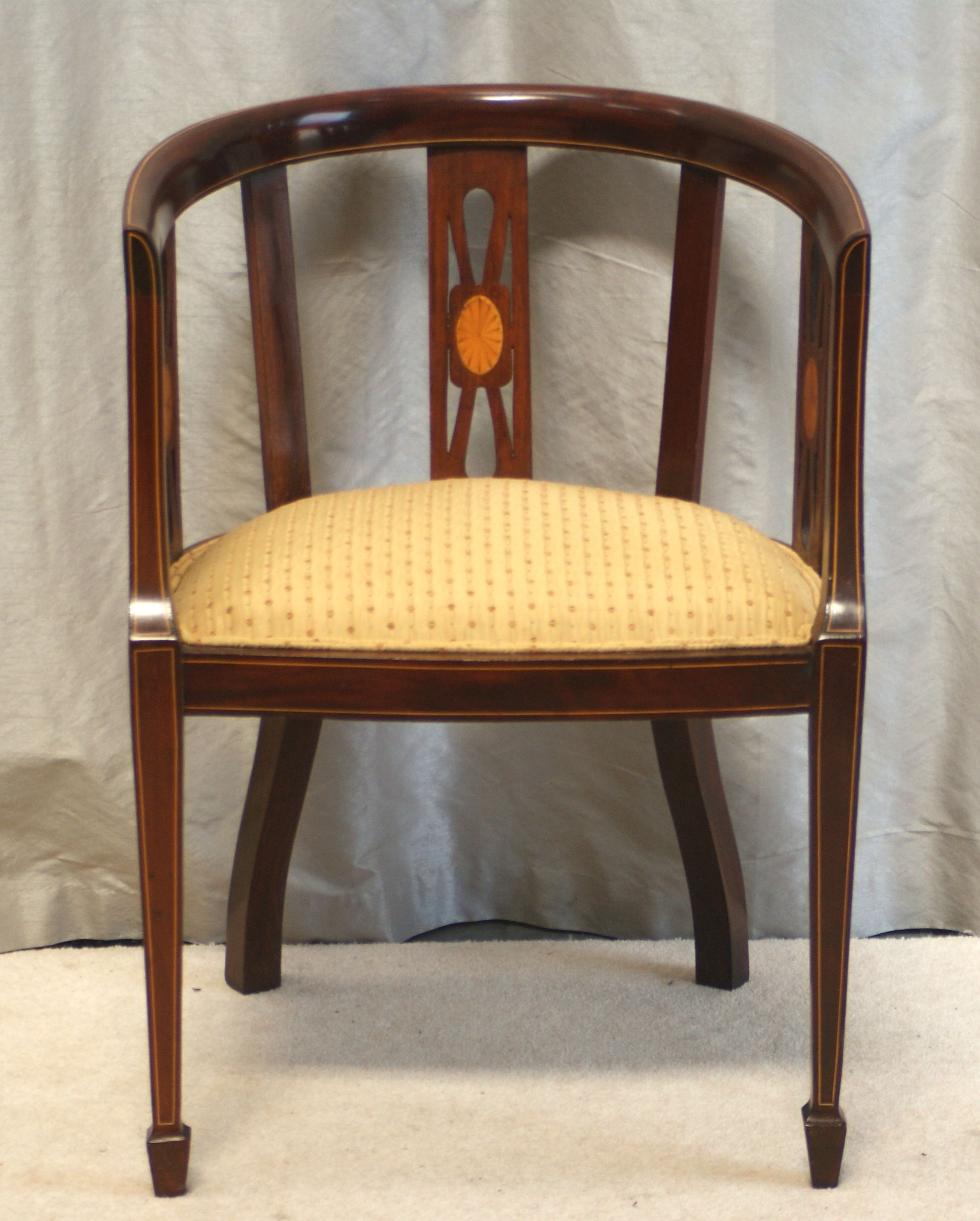 Fine Inlaid Mahogany Desk Chair Edwardian Sold By Www Antiquedesks