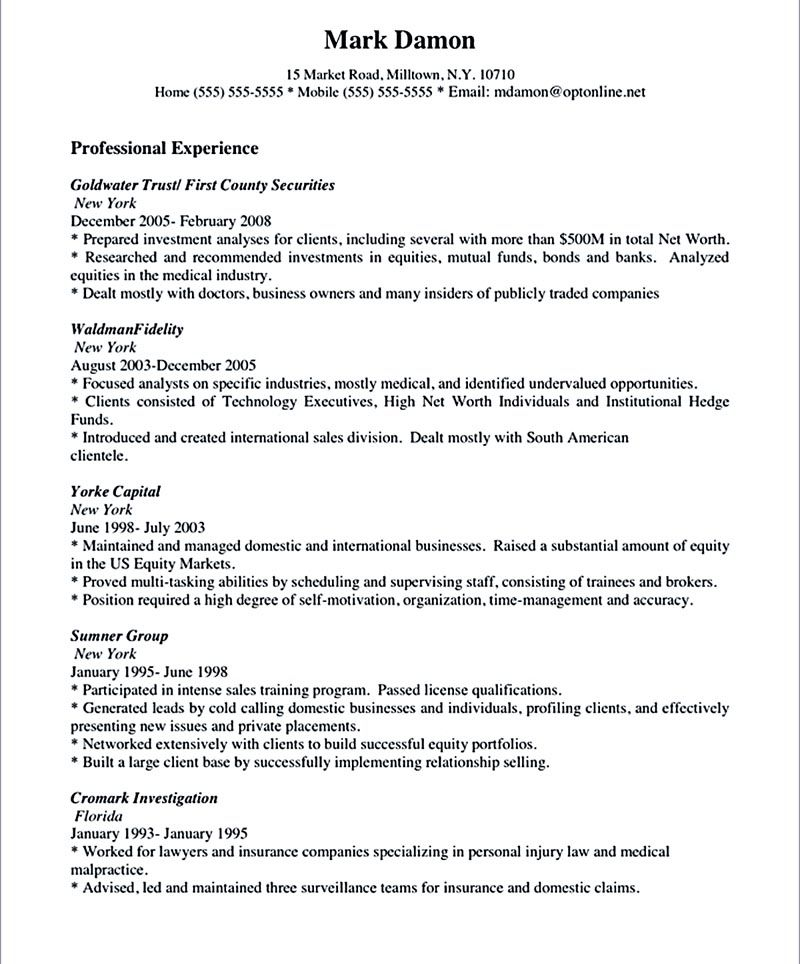 salesperson resume sample The salesperson resume can be a good - investment analyst resume