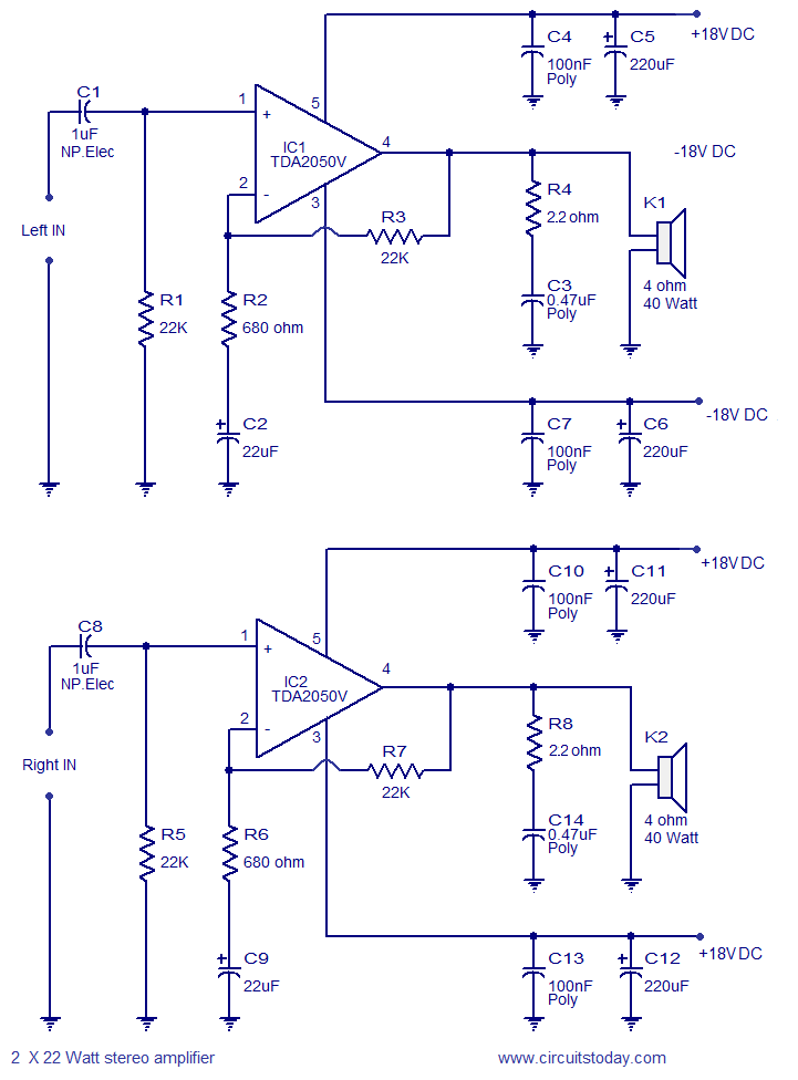 2 x 32 Watt stereo amplifier circuit. / Assemble this circuit on a ...