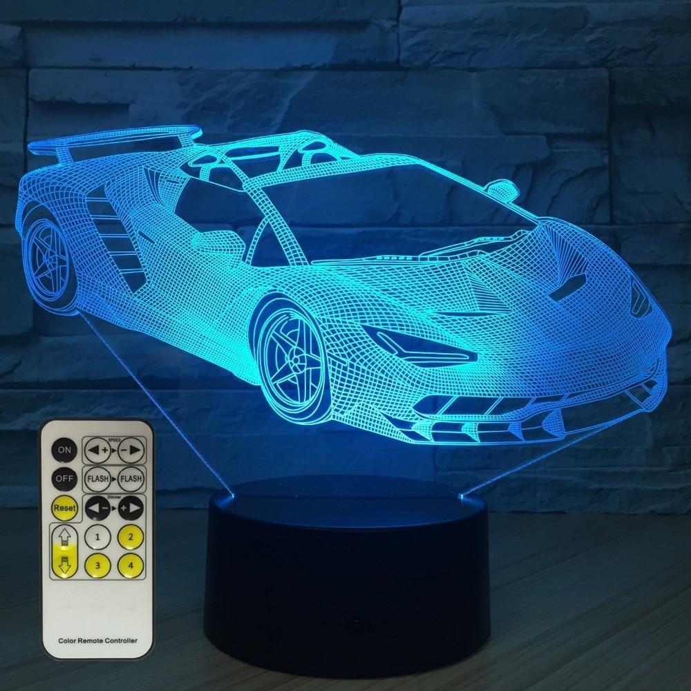 Super Sports Racing Car Night Light 3D USB Touch Switch