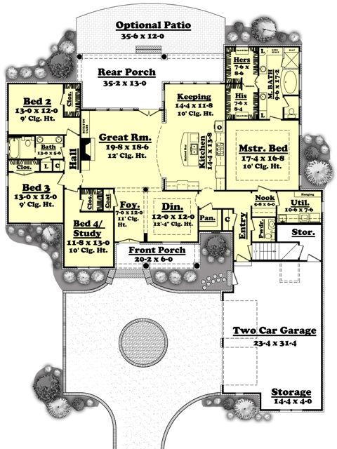 House plan 041 00051 european plan 2 750 square feet 4 Outdoor living floor plans