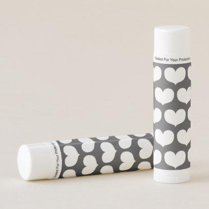 big white hearts pattern grey lip balm saint valentines day gift idea couple love - Valentines Day Gift Idea