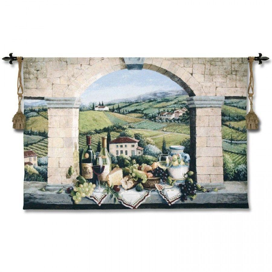 Fine Art Tapestries Vino De Tuscany Felisky 4575 Wh Fine Art Tapestries Tapestry Wall Art Fine Art