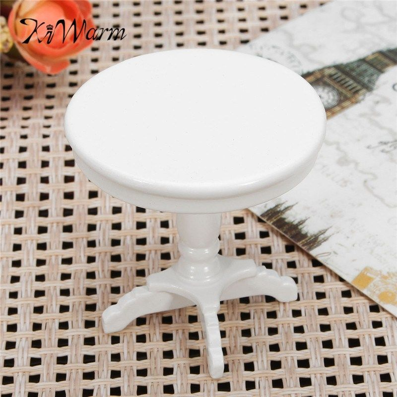 Dollhouse Miniature 1:12 Round End Table in White