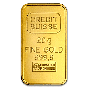 Credit Suisse Gold Bar Circulated In Good Condition 20 G 20g Credit Suisse Gold Bar Manufactured By Valcambi Each Gold Bar Contains A Minimum Of 999 1 Oz