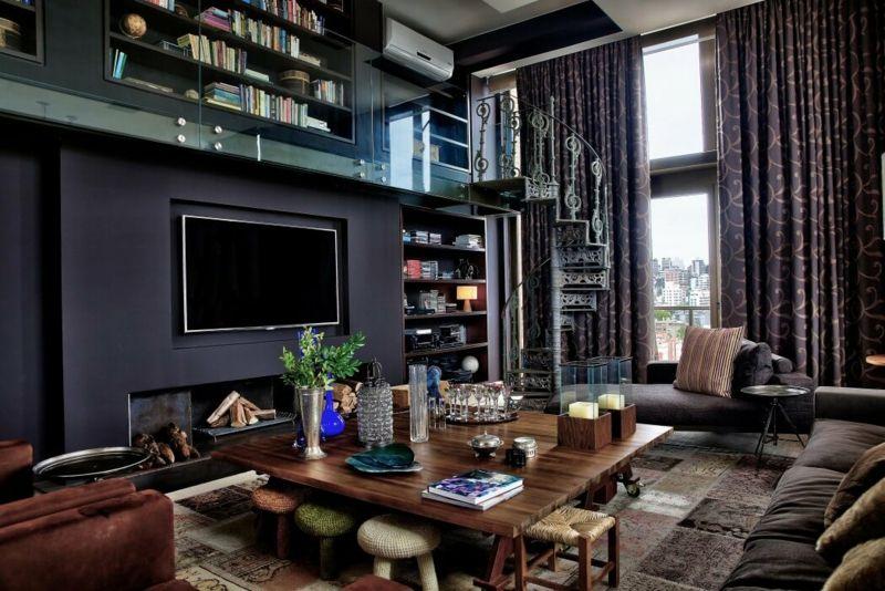 Wohnzimmer In Dunklen Farben Gestalten   Penthouse Wohnung In Brasilien