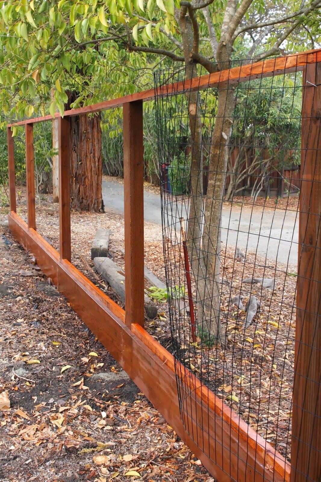 Wood And Welded Wire Panel Fence In 2019 Backyard Fences