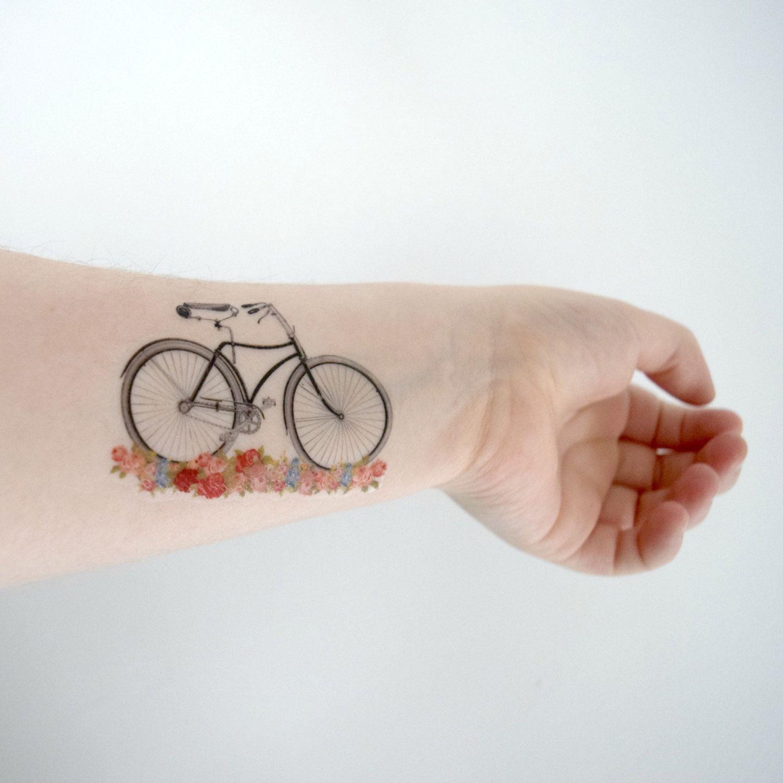 Temporary Tattoo Bicycle Vintage Floral Flowers By Siideways