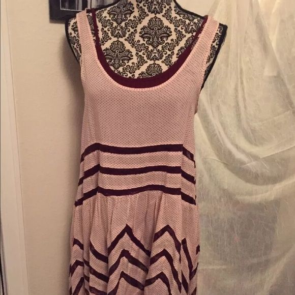Free People Voile and Lace Trapeze Slip Worn once, in excellent condition. Size small. Ballet/plum color. Free People Dresses Mini