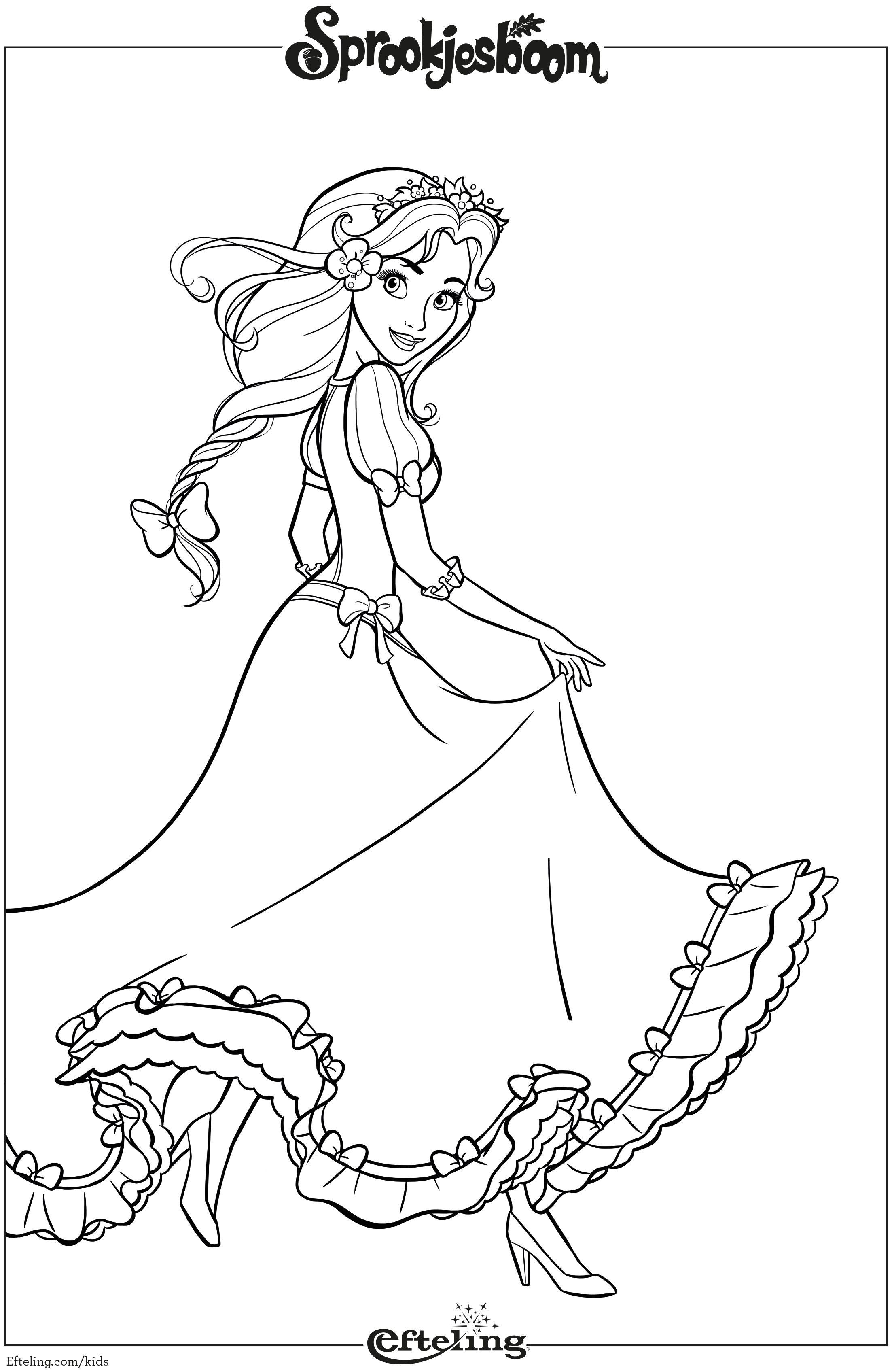 Kleurplaten Over Prinsessen.Assepoester Van Sprookjesboom Efteling Kleurplaat Efteling
