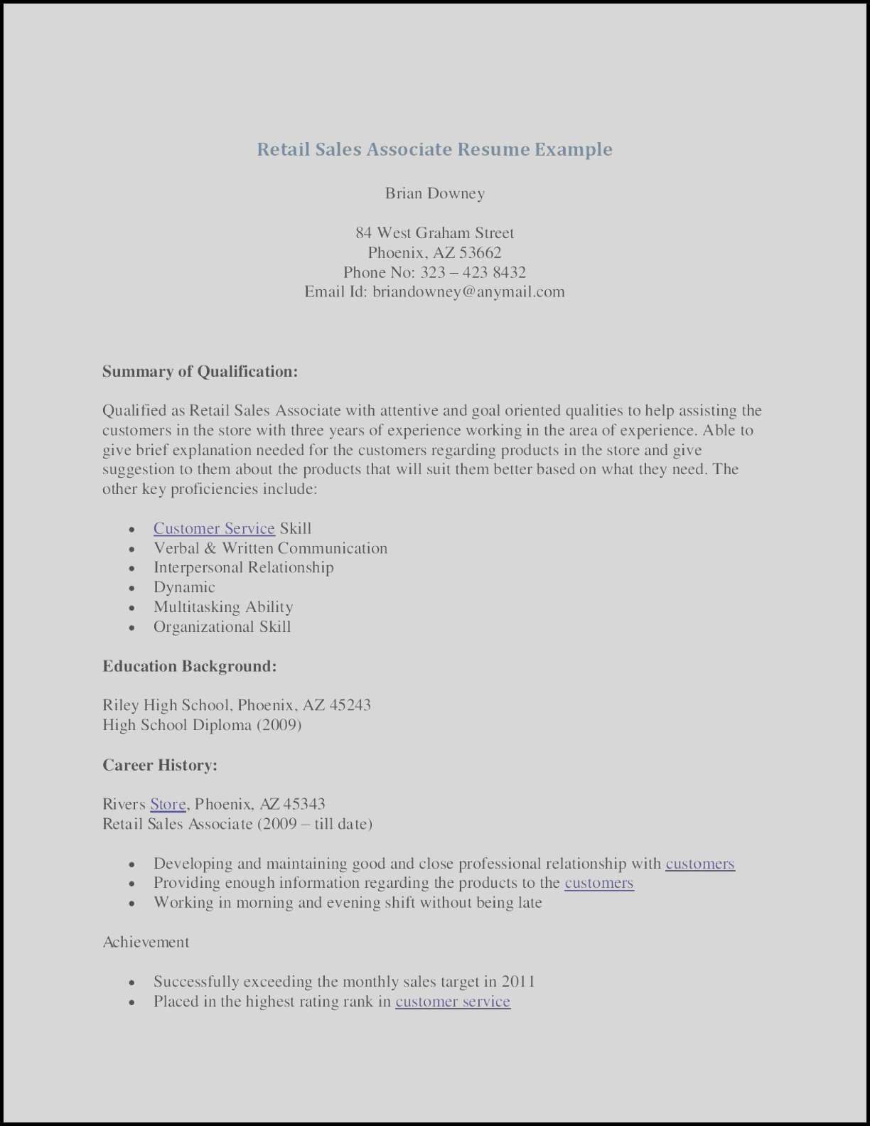 80 Awesome Photos Of Sample Resume for Sales Clerk without
