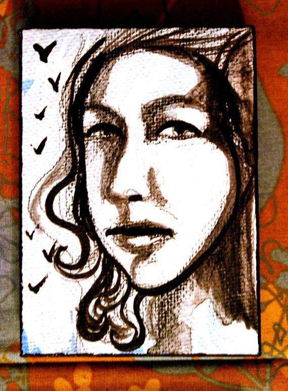 sepia wash portrait etheral haunting hope by PaintedValentineArt, $20.00
