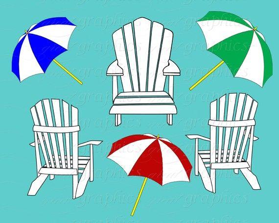 beach clip art digital clipart beach chair beach party printable rh pinterest com